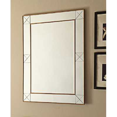 Imperial Large Mirrored Glass Rectangular Wall Mirror With Gold Trim