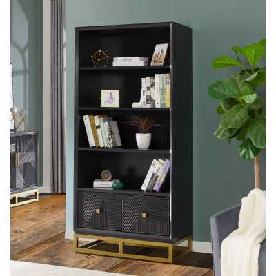 Orlando Geometric Pattern 2 Drawer Tall Bookcase Black Painted