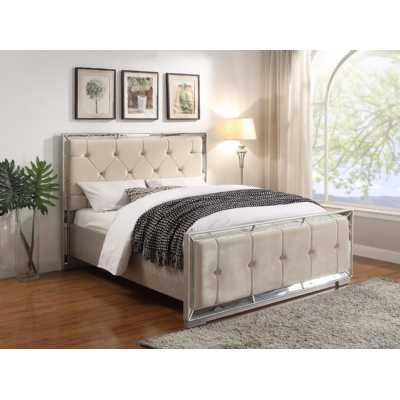 Cream Velvet Sofia 4Ft Double Bed with Mirrored Panels and Mock Croc