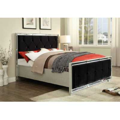Sofia Mirrored Glass Double Bed with Black Fabric Buttoned Back