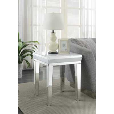 Malibu White Mirrored Glass Modern Lamp End Side Table