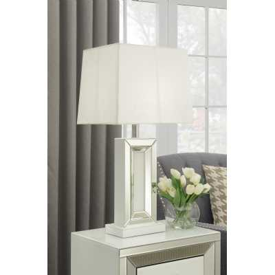 Malibu White Mirrored Glass Modern Table Lamp