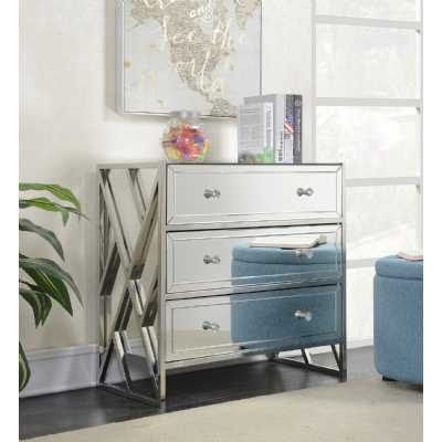 Silver Mirrored Glass 3 Drawer Bedroom Chest Of Drawers