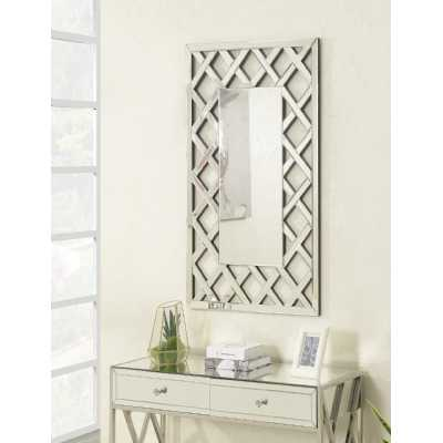 Pacific Large Silver Rectangular Crosshatch Wall Mirror 3ft x 4ft