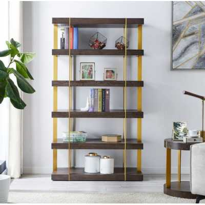 Sanremo Tall Brass and Dark Wood 5 Shelves Open Bookcase