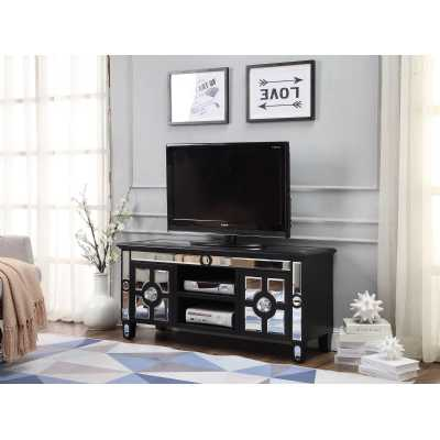 Modern 2 Door Henley Black Wooden TV Unit with Mirrored Glass Panels