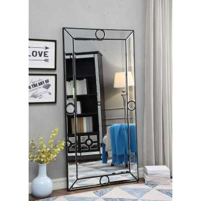 Modern Art Deco Henley Rectangular Wall Mirror with Black Circles