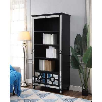 2 Drawer Henley Back Wooden Bookcase with Mirrored Glass Panels