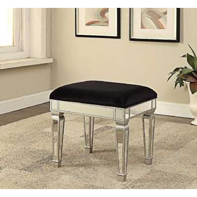 Sofia Modern Silver Mirrored Glass Dressing Table Stool