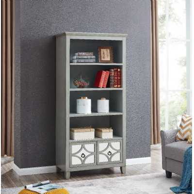 Russell Grey Painted Tall Bookcase With 2 Drawers and 4 Shelves