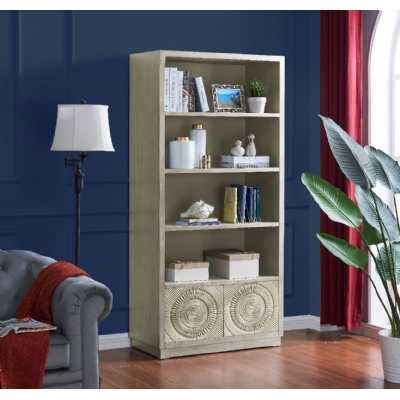 Frenso Tall Storage Silver Bookcase with 2 Sunburst Motif Design Drawers