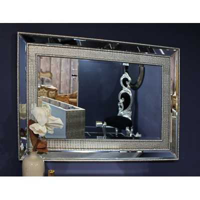 Sofia Modern Mirrored Glass Large Wall Mirror With Silver Details