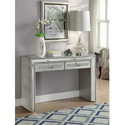 Sofia Modern Mirrored Glass Console Table With 2 Drawers