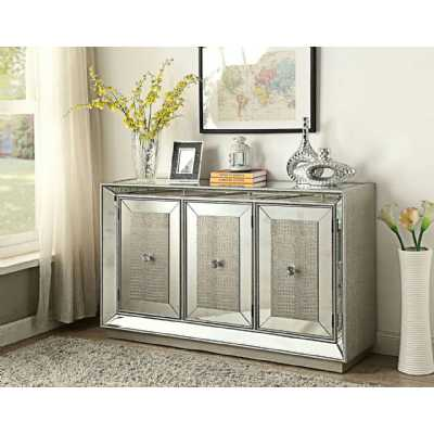 Sofia Modern Mirrored Glass 3 Door Sideboard With Silver Detailing