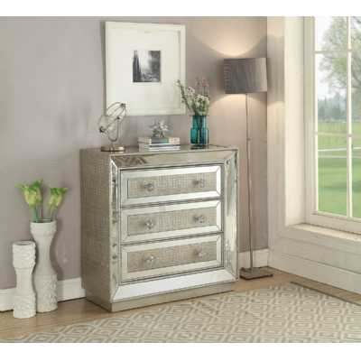 Sofia Modern Mirrored Glass 3 Drawer Chest With Silver Detailing