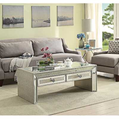 Mirrored Glass Sofia Coffee Table in Silver Detailing