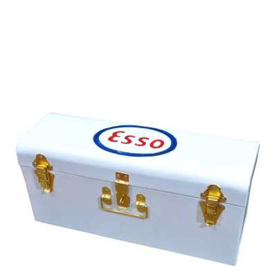 Heritage Signs Esso White Painted Tool Box Rectangular Trunk Style