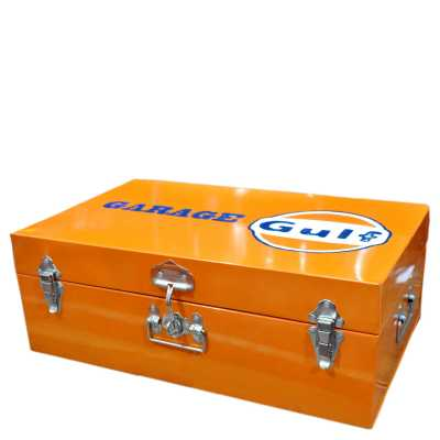Heritage Signs Antique Orange Garage Gulf Tool Box Rectangular Trunk Style