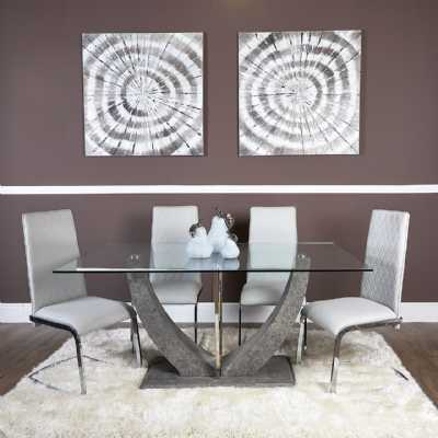 Contemporary Grey Venus Dining Table with 6 Light Grey Dining Chairs
