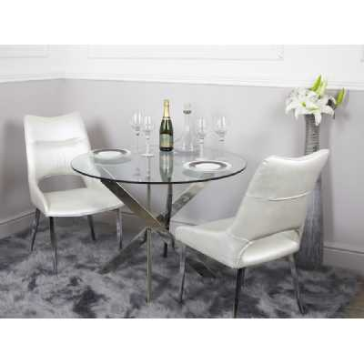 Glass and Chrome Modern White 130cm Round Dining Set with 4 Chairs