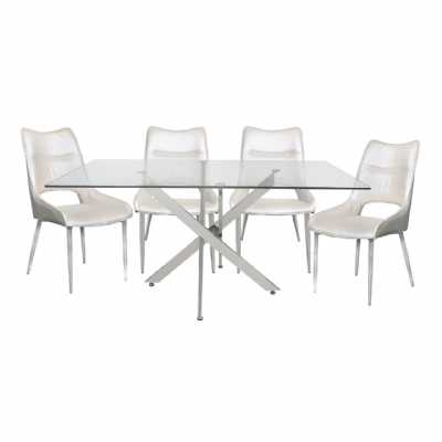 Modern Glass Top 160cm White Rectangle Dining Set with 4 Chairs