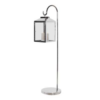 Stainless Steel Terano Metal and Glass Floor Standing Lantern on Stand