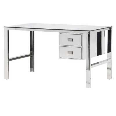 Polished Steel 2 Drawer Ann Desk with Glass Top