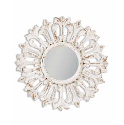 Rustic Chantilly White Carved Sunburst Wall Mirror