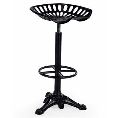 Antiqued Black Iron Tractor Seat Style Kitchen Bar Stool