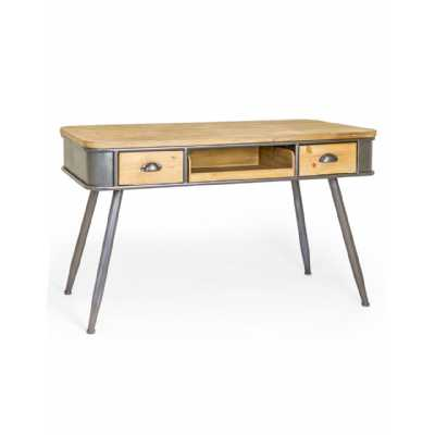 Shoreditch Rounded Edge Metal And Wood 2 Drawer Desk Console Table