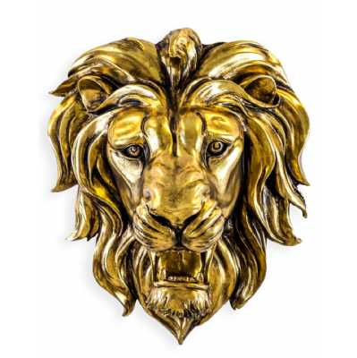 Large Gold Roaring Lion Wall Head