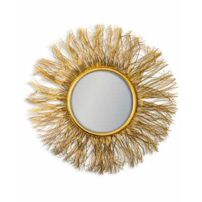 Large Antique Gold Metal Wire Sunburst Round Shaped Wall Mirror