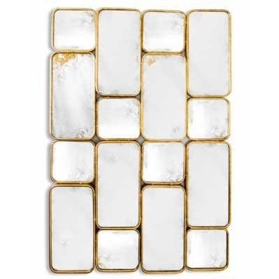 Art Deco Gold Framed Antiqued Glass Multi Panel Rectangular Wall Mirror