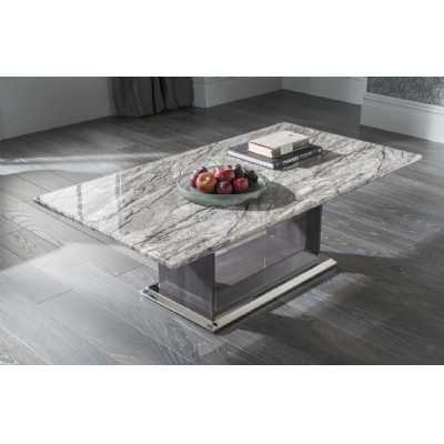 London Light Grey Rectangular Coffee Table Marble Top High Gloss Base