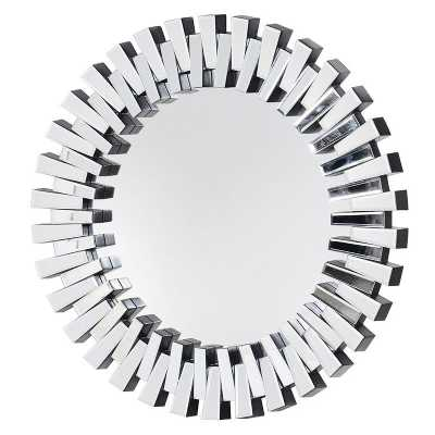 Modern Mirrored Glass Pieced 2 Layer Large Round Wall Mirror