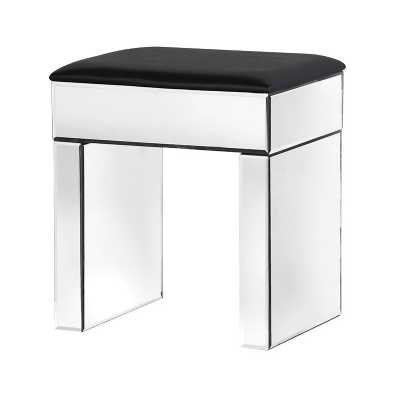 Venetian Glass Mirrored and Black PVC Dressing Table Stool