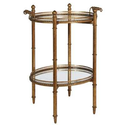 Gilt Mirrored Glass Drinks Stand with Handles and Tray Top and Base
