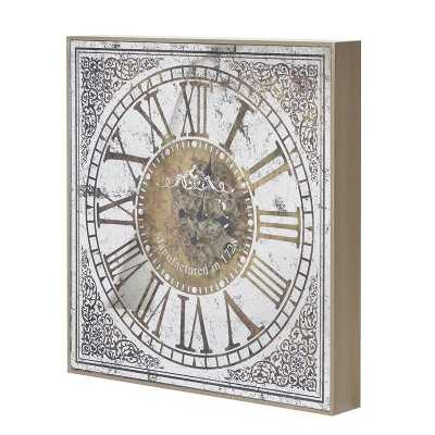 Large Steampunk Decorative Square Wall Clock in Box Frame