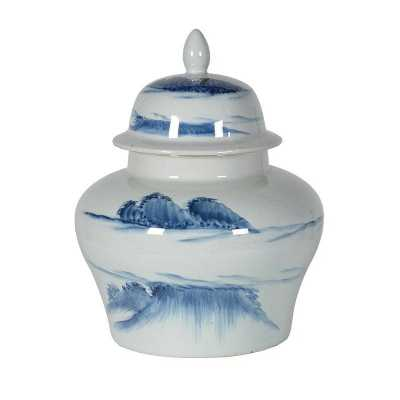 Decorative Wide Windswept Landscape Ginger Jar with Lid