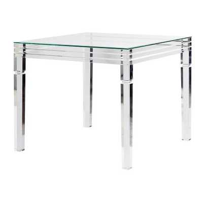 Contemporary Designed Square Acrylic Framed Glass Top Dining Table