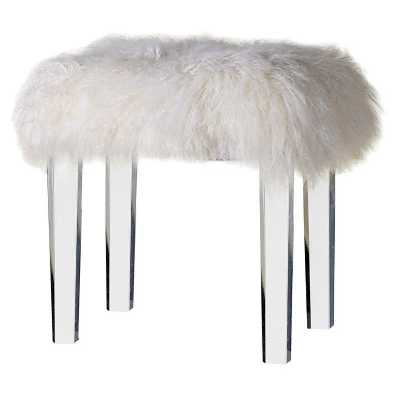 Modern Mongolian Sheep Fur Covered Stool with Acrylic Tapered Legs