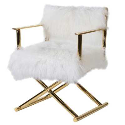 London Chelsea Real Mongolian Fur Golden Accent Chair