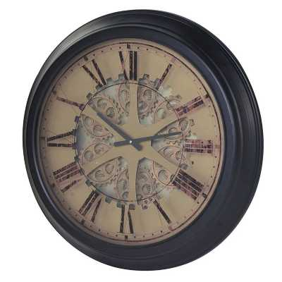 Large Round Black Painted Gears And Mechanisms Skeleton Wall Clock