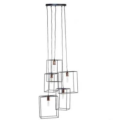 Minimalistic Style Open Caged 5 Squares Pendant Ceiling Light