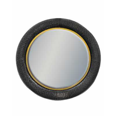Black And Bronze Large Round Lincoln Wall Mirror