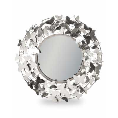 Silver Round Metal Framed Modern Butterfly Covered Wall Mirror