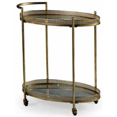 Antique Style Gold Coloured Metal Drinks Serving Trolley Mirrored Glass Shelves