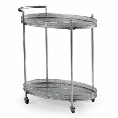 Silver Metal Tea Cakes Drinks Serving Hostess Trolley Mirrored Shelves
