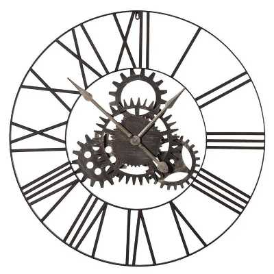 London Steampunk Industrial Large 90cm Round Metal Cogs Wall Clock