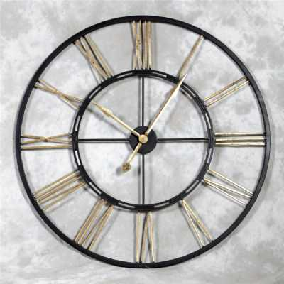Rustic Large Round Metal Iron Skeleton Wall Clock With Gold Numerals
